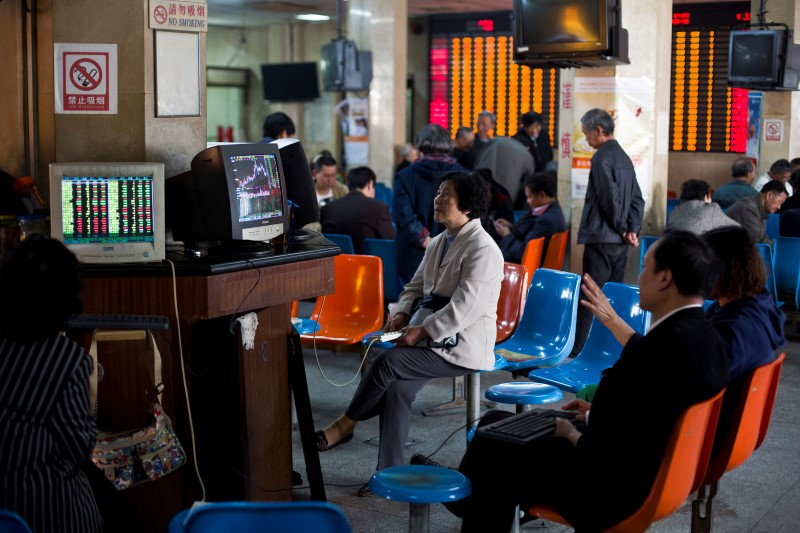 China stocks lower at close of trade; Shanghai Composite down 5.91%