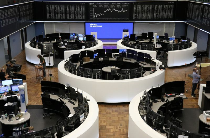 European shares slip but log sixth straight month of gains