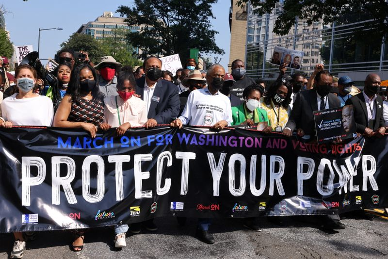 Thousands march in Washington, U.S. cities for voting rights