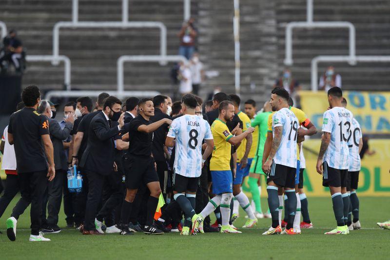 Soccer-Brazil v Argentina suspended after health officials intervene over quarantine breach