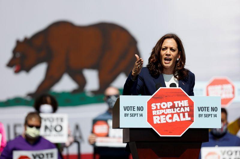 U.S. VP Harris rallies for California governor facing recall