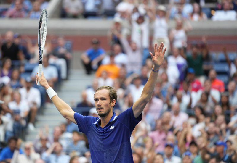 Tennis-Medvedev wins U.S. Open to end Djokovic calendar Grand Slam bid
