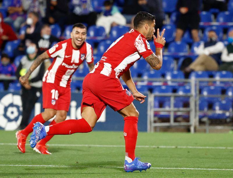 Suárez marca duas vezes e Atlético de Madri bate o Getafe de virada