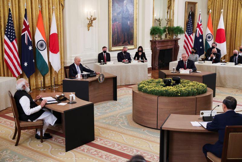 日米豪印、「強制に屈せず」と共同声明 中国念頭に連携強調
