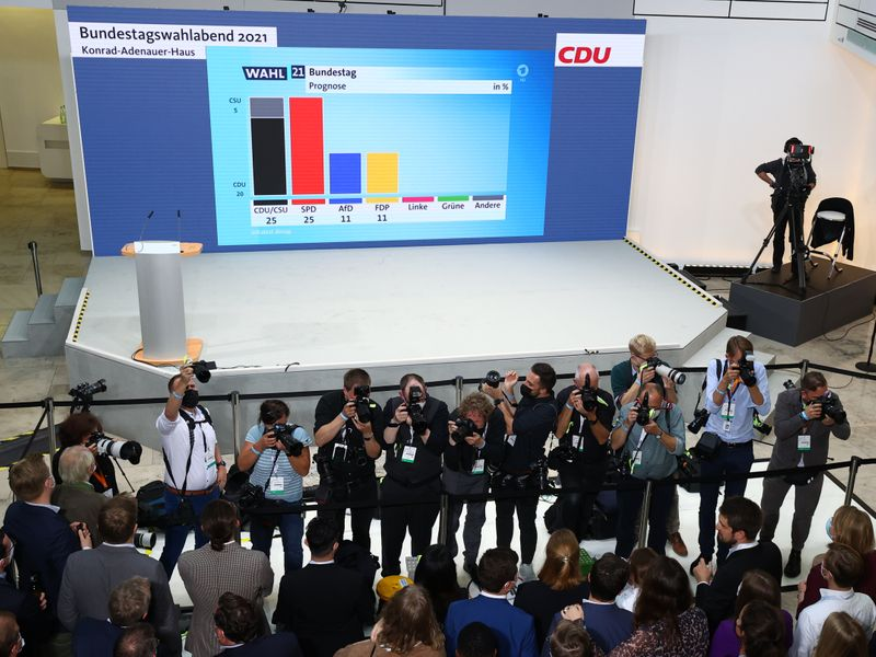 German CDU/CSU and SPD tied in national election - exit poll