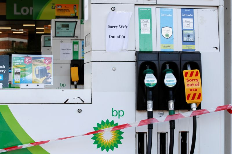 As fuel pumps remain dry, UK's Johnson says plans in place for supply chains