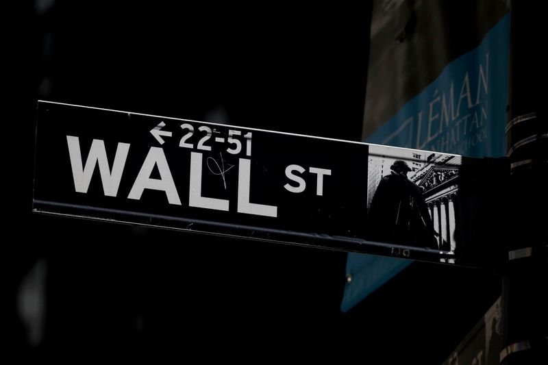 © Reuters. FILE PHOTO: A Wall St. street sign is seen near the New York Stock Exchange (NYSE) in New York City, U.S., September 17, 2019. REUTERS/Brendan McDermid