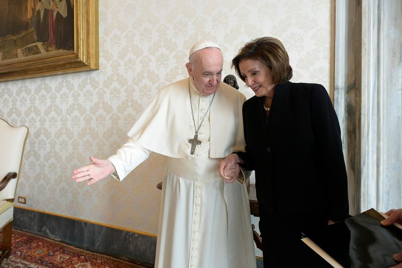 Pelosi meets pope as abortion debate rages back home