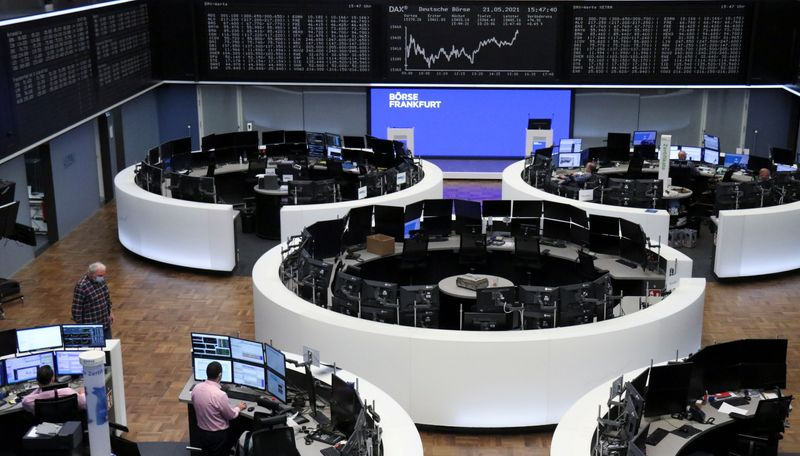 European shares hover below record highs, HSBC edges lower
