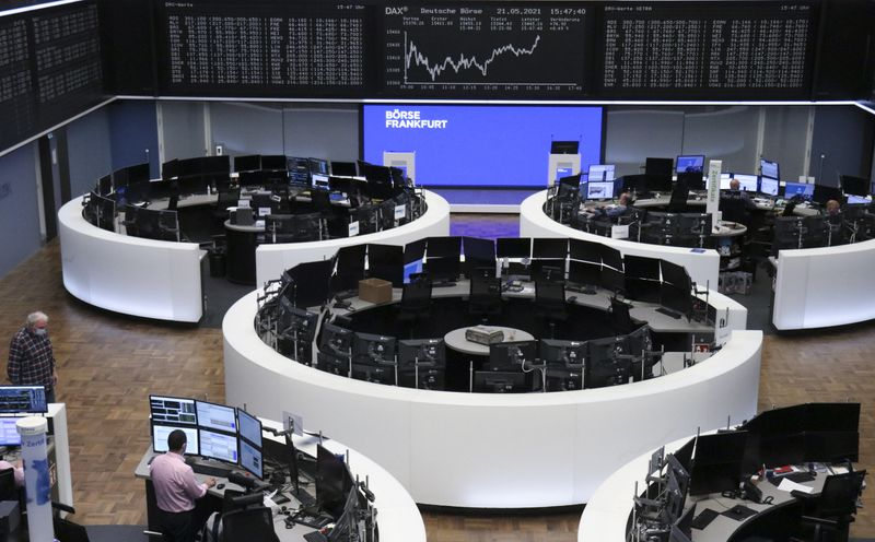 European stocks fall from record but post fourth monthly gain