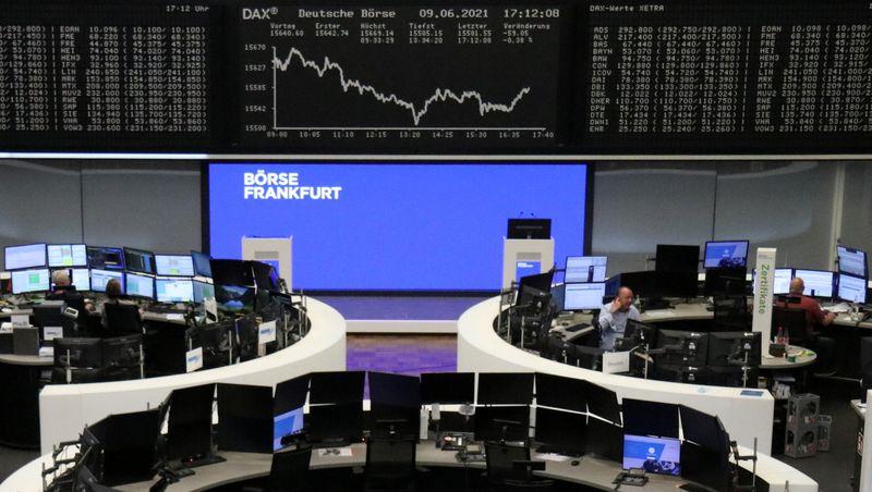 European stocks eke out fresh record as ECB raises recovery outlook