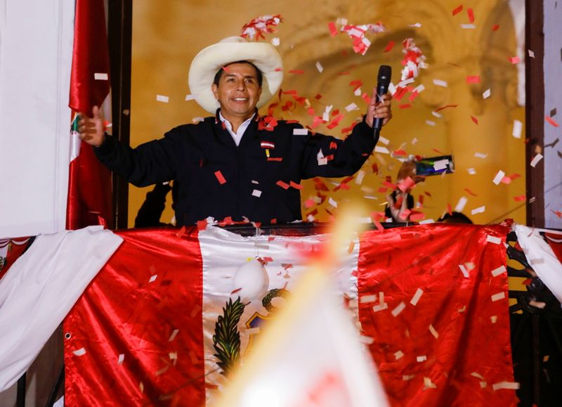 Peru's Castillo closes in on victory in presidential election